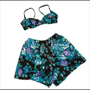 Vintage 90s floral bikini top and shorts